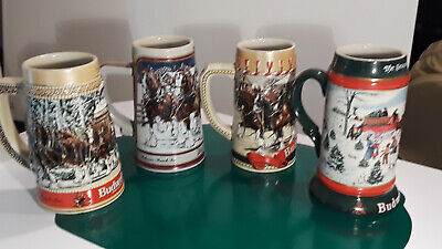 $ CDN43.80 • Buy Set Of (4) Budweiser Holiday Christmas Steins Clydesdales  1986/1987/1989/1991