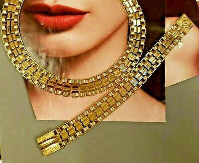 $28 • Buy Fabulous Vintage Sarah Coventry Jewelry Set Gold Tone Choker And Bracelet SNAP