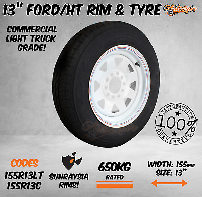 AU115.95 • Buy ​13  FORD/HT Multifit Sunraysia Wheels 8PLY Rim Tyre WHITE Boat Trailer 155R13LT