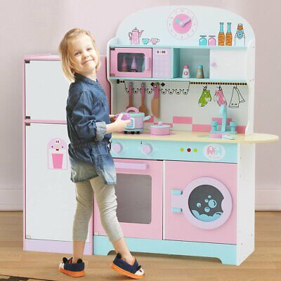Large Wooden Kids Role Play Kitchen Set Cooking Toys Girls Boys Play Set Pink • 94.15£