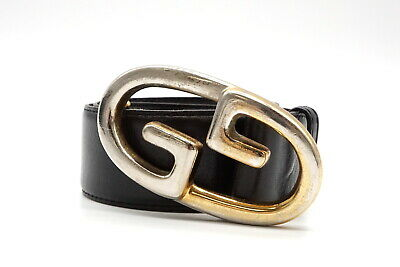 AU223.84 • Buy Old GUCCI Vintage Waist Mark Belt Gold Silver GG Buckle Leather Black 3389k