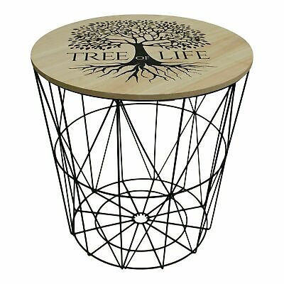 Life Of Tree Black Metal Wire Round Wood Top Table Storage Side Basket Home New • 19.95£
