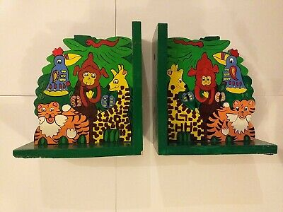 Childrens Wooden Jungle Animal Book Ends  • 1£