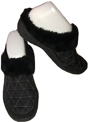 SKECHERS RELAXED FIT-Sz 6-Air-Cooled Memory Foam Black Quilted Slippers-Faux Fur • 23.15£