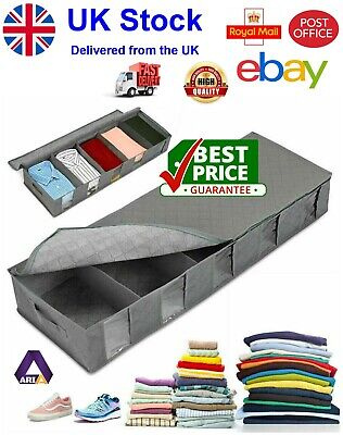 Large Capacity Under Bed Storage Bag Box 5 Compartments Clothes Shoes Organizer • 6.39£