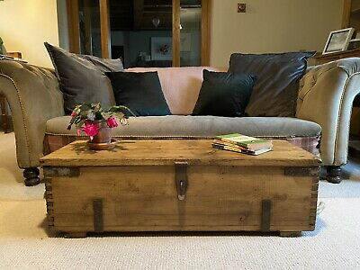 Old PINE CHEST, Wooden Blanket TRUNK, Coffee TABLE, Vintage Storage BOX, Rustic • 31£