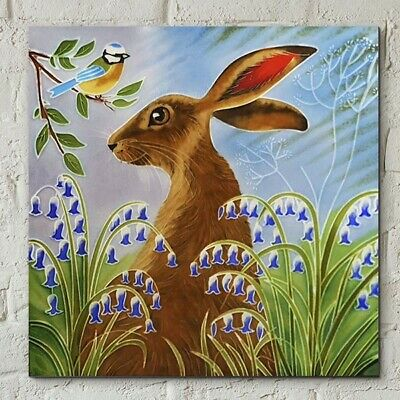 £22.95 • Buy Hare In Bluebells By Judith Yates 8x8  Decorative Ceramic Picture Art Tile 05972