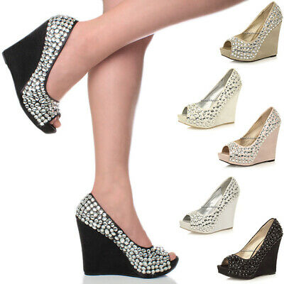 Womens Ladies Platform High Heel Wedge Wedding Prom Bridal Party Gem Shoes Size • 12.99£