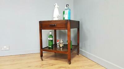 £85 • Buy Vintage Square Two Tier Drinks Trolley Cocktail Stand Original Casters & Drawer