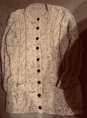 Ladies Wool Hand Knitted  New Cardigan In Arran Chunky,  Size 16 18 Warm Cosy • 15£