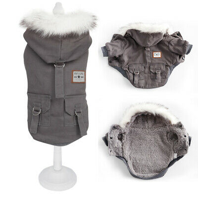 £9.69 • Buy Small Dog Coats For Winter Fur Hood Puppy Pet Down Jacket Jack Russell Clothes