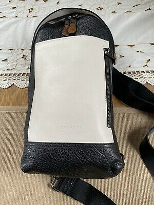 $195 • Buy COACH Mixed Leather Manhattan Sling - Chalk And Black - 57765 - EUC