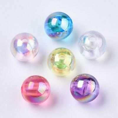$ CDN2.74 • Buy 100 X 8MM Multi Colour Round Beads - AB Transparent Mixed Colours Bright
