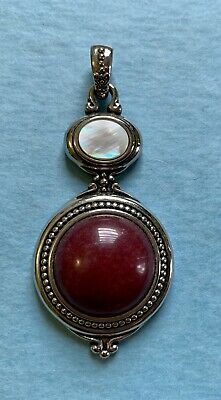 $ CDN17.51 • Buy Lia Sophia Silver Tone Round Red Jasper Color And Mother Of Pearl Slide Pendant