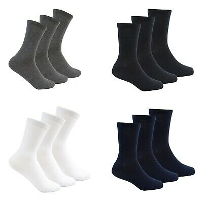 Boys Girls Kids Plain Socks 3 Pack Ankle School Cotton Rich Childrens Black Grey • 2.99£