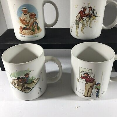 $ CDN13.83 • Buy Vintage 1987 Museum Collections Norman Rockwell 4 Fishing Scenes Cups Mugs Gift