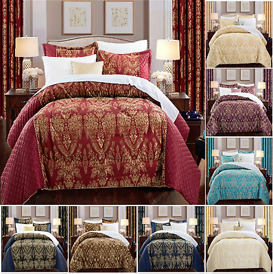 Ring Top Jacquard Curtains & 3 Piece Quilted Bedspread Double King Bedding Set • 23.99£