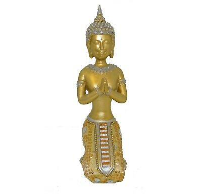 Thai Gold Buddha Meditating Praying Ornament Figurine Statue • 8.99£