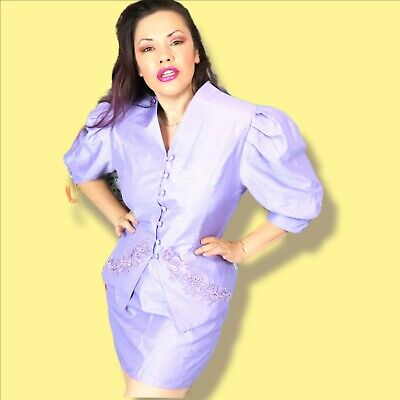 Lilac Purple 80s Power Suit Shot Silk Lace Embroidery Mini Skirt Puff Sleeve Set • 33.38£