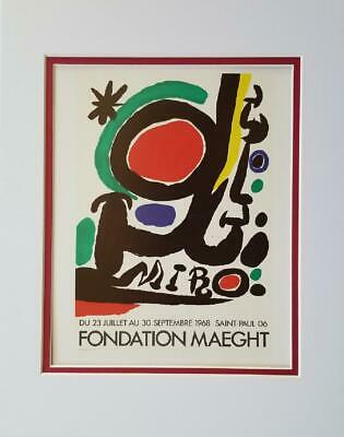 £34.70 • Buy Joan Miro Foundation Maeght Exhibition Poster Print Matted Offset Litho 1980