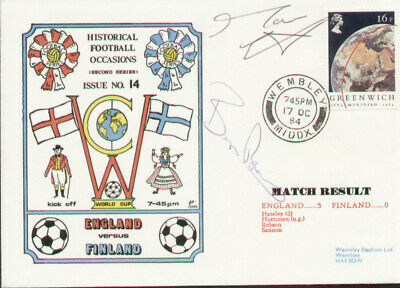 £21.50 • Buy England V Finland 1984 Dawn First Day Cover - Signed Mark Wright & Bryan Robson