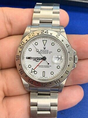$ CDN10045.16 • Buy Rolex Explorer II Steel Holes GMT Red Hand White Dial Automatic Mens Watch 16570