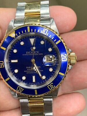 $ CDN14515.18 • Buy Rolex Submariner Date Holes 18K Gold Steel Blue Dial Automatic Mens Watch 16613