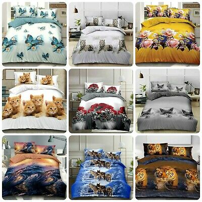 AU44.45 • Buy 4 Pcs 3D Design Duvet Cover Complete Bedding Set Fitted Sheet & 2 Pillow Cases