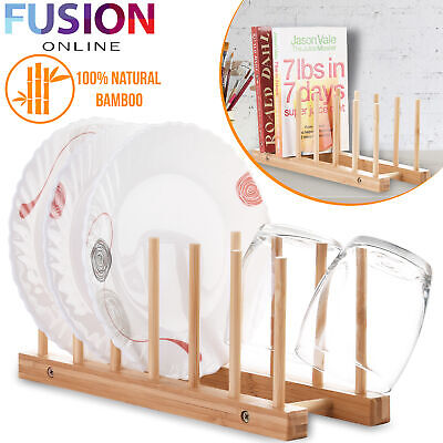 £17.99 • Buy Wooden Bamboo Plate Rack Dish Stand Holder Drying Dishes Cup Storage Kitchen