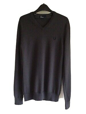 £14.99 • Buy Fred Perry Classic V Neck Jumper XS Grey Merino Wool Blend Excellent Condition