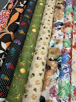 £4.95 • Buy By Metre-Remnant Cotton Prints/cotton Fabric Various Designs, /remnant Fabric/