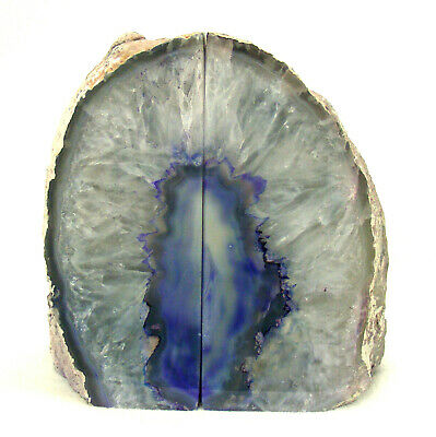 £46.50 • Buy Grey Purple Agate Bookend Set With Quartz Crystal Large Polished Geode 1.9g 13cm