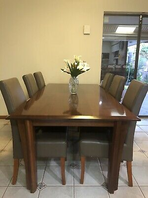 AU1200 • Buy Jamel Solid Jarrah Dining Table Rectangular With Leather Chairs Made In WA