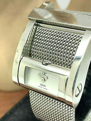 $ CDN57.08 • Buy Guess Women's Watch GC Quartz Rectangle White Dial Silver Mesh Stainless Steel