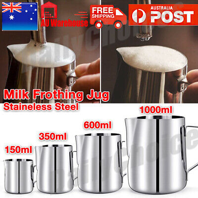 AU16.89 • Buy Stainless Steel Milk Frothing Jug Frother Coffee Latte Container Pitcher 4 Sizes