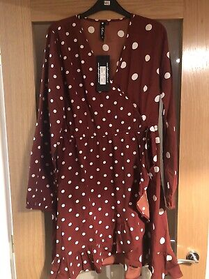 Influence Size 12 Brown Long Sleeve Polka Dot Dress • 6.99£