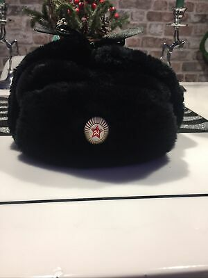 Russian Army Black Military Winter Ushanka Hat With Soviet Badge!hight Quality • 15£