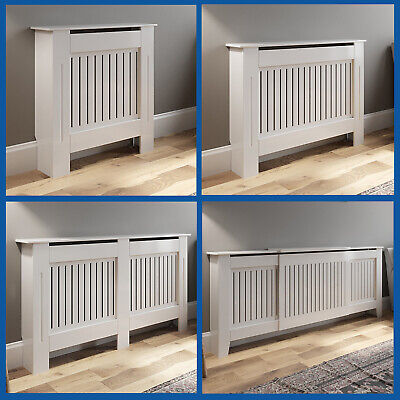 White Radiator Cover Grill Shelf Cabinet MDF Wood Modern Traditional Vertical • 89.99£