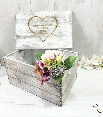 LARGE Personalised Keepsake Box Antique Wooden  Crate For Memories Engraved • 24.95£