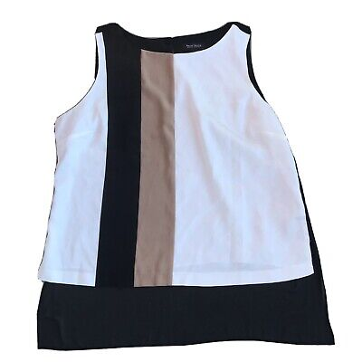 $ CDN26.96 • Buy White House Black Market Sleeveless Blouse Size Large Colorblock EUC DJ3