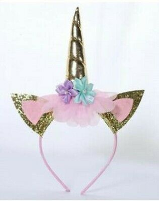 AU16.95 • Buy Kids Girls Flower Girl Unicorn Horn Head Hair Band Kid Party Headband Costume AU