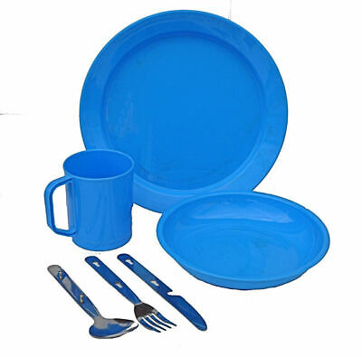 £9.90 • Buy 1 Person Camping Picnic Dining Set Plate Mug Bowl And Cutlery Blue Plastic