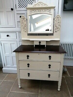 £75 • Buy Beautiful Painted Edwardian Dressing Table/ Chest Of Drawers With Ornate Mirror