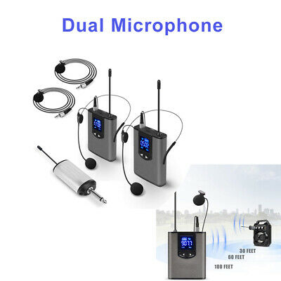 UHF Wireless System With Dual Headset/Lavalier Microphone For Karaoke Supply 1pc • 54.90£