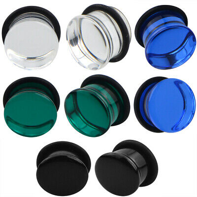 $8.15 • Buy Pair Of Single Flare Glass Plugs Sizes 2GA-13/16  Clear Black Green Blue E566