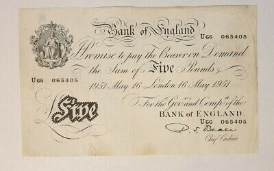 White Fiver Old £5 Five Pound English Bank Note Beale 1951 Collectable • 175£
