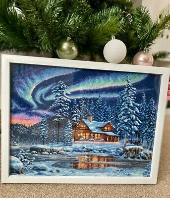Finished And Framed Large Cabin Cross Stitch • 45£