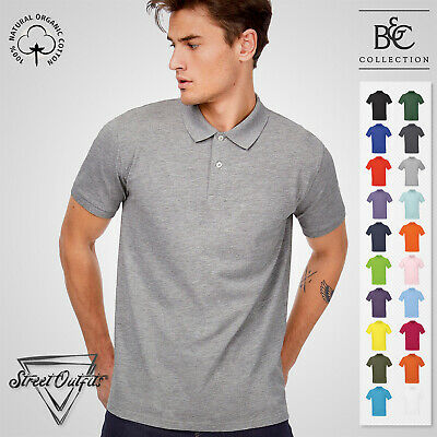 Mens Organic Cotton Pique Polo Shirt B&C Short Sleeve Ringspun Top Crew Neck • 9.31£