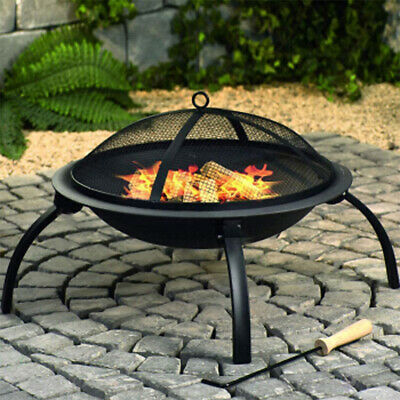 Large Outdoor Garden Fire Pit Firepit Brazier Stove Patio Heater BBQ Grill Steel • 89.99£