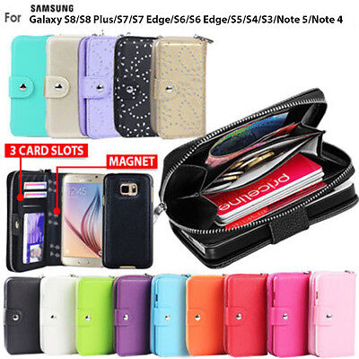 AU10.99 • Buy Galaxy S8 S8 Plus Case For Samsung Zip Wallet Leather Cover Magnetic Coins
